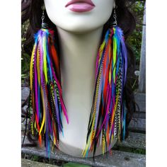 Neon RaInbow Owlita Inspired Feather Earrings Bright Colorful Long Big Full Thick Premium Feather Earrings 12 inches Sale found on Polyvore