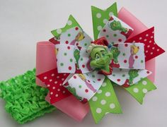 Christmas Hair Bow  - Green Grin Santa Boutique Style Hair Bow Includes Headband - You Can Purchase without the headband