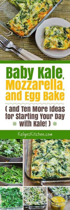 This Baby Kale, Mozzarella, and Egg Bake is a tasty way to start the day with a healthy breakfast that's low-carb, Keto, low-glycemic, gluten-free, and South Beach Diet friendly. This post also has Ten More Ideas for Starting Your Day with Kale, but of course if you're not a kale lover, use any greens you prefer! [found on KalynsKitchen.com]