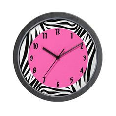 CafePress - Black And White Zebra Print With Hot Pink - Unique Decorative Wall Clock -- For more information, visit image link. (This is an affiliate link and I receive a commission for the sales) Pink Wall Clocks, Best Wall Clocks, Pink Love, Hot Pink, Grandfather Clocks For Sale, School Survival Kits, Best Outdoor Lighting, Outdoor Light Fixtures, White Zebra