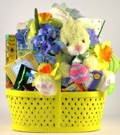 Sugar free easter gift basket gift basket ideas pinterest happy easter its a wooden basket of treats did you see the cute bunny negle Gallery