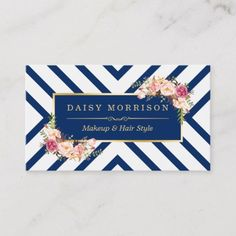 Hair Stylist Beauty Salon Gold Floral Navy Blue Business Card - Let your customers know who you are. Beauty Salon Names, Beauty Salon Logo, Beauty Salon Design, Minimalist Business Cards, Modern Business Cards, Custom Business Cards, Beauty Business Cards, Makeup Artist Business Cards, Salon Gold