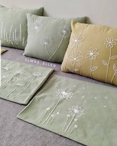 Green Pillow Cover, Fresh Green Queen Ann Embroidery on Cream Pillow, Linen Embroidered Pillow,Throw Pillow Cover 18 x Cushion CoverQueen Ann Throw Pillow Cover By KainKain contemporary pillows. Cushion Embroidery, Embroidery Works, Flower Embroidery Designs, Simple Embroidery, Hand Embroidery Stitches, Embroidery Techniques, Embroidered Cushions, Cushion Cover Designs, Sewing Pillows