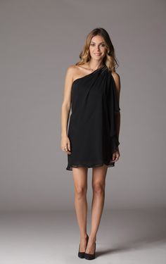 You will be breaking dawn with this lethal mini dress! A sleeveless sheer chiffon detail streams fluidly down from a single shoulder into the night to eclipse all those who dare to challenge your beauty. A new moon arises as this one shoulder dress acts like a crescent to your flawless figure. - $20.00
