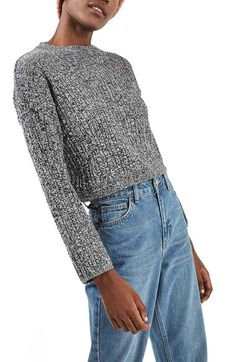 Topshop Marled Crop Sweater available at #Nordstrom