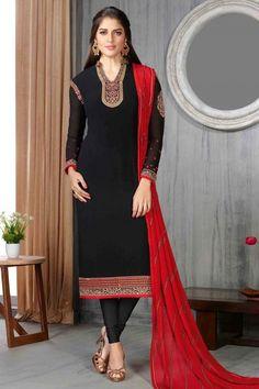 Black Georgette Churidar Suit With Dupatta   http://www.andaazfashion.co.uk/salwar-kameez/churidar-suits