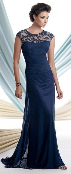 Stretch illusion slim A-line dress with hand-beaded embroidered cap sleeves and modified bateau neckline, pleated sweetheart bodice, soft skirt with sweep train. Matching shawl included.