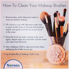 Norwex Dishwashing Liquid isn't just great for dishes, you can gently clean your make up brushes with it too! http://ericablount.norwex.biz/