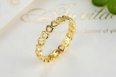 £10 - Ring, Gold Plated, Stacked, Heart, Love Openwork