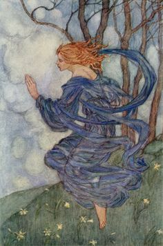"The Wind - Emma Florence Harrison illustration to the poem by William Morris. ""Wind, wind! thou art sad, art thou kind? Wind, wind, unhappy! thou art blind,  Yet still thou wanderest the lily-seed to find"""