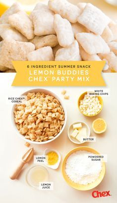 Lemon Buddies is an easy snack mix to make up for a crowd. This sweet and tart party mix uses just 6 ingredients and is ready in less than 15 minutes. Perfect for graduation parties, weddings, or baby showers.