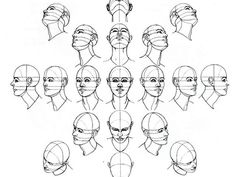 How to draw/sketch the human head from all forward facing angles