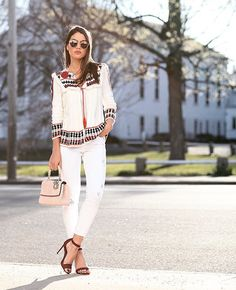 Pin for Later: 18 Outfits That'll Turn White Jeans Into Your Most Versatile Pair of Pants With a Cream Printed Top and Brown Heels