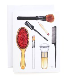 Beauty Brushes Illustrated Folded Note Cards  Set by joannabaker