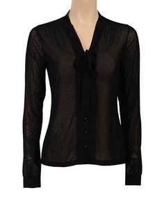 Black Sheer Tie-Neck Top by Louie et Lucie #zulily #zulilyfinds