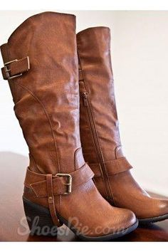 awesome Comfortable Leather Buckle Knee High Boots