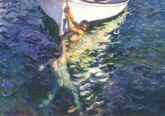 Cuadro Bote Blanco de Joaquín Sorolla y Bastida, Esta obra maestra del impresionismo español capta una escena costumbrista del litoral valenciano, en la pintura aparecen dos niños en el mar, jugando junto a su bote.