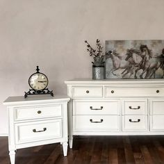 Dixie dresser and nightstand refinished in #generalfinshes antique white