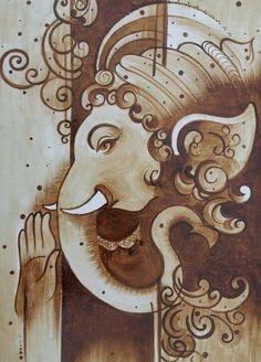 Ganesha Drawing, Lord Ganesha Paintings, Krishna Painting, Ganesha Sketch, Kerala Mural Painting, Indian Art Paintings, Coffee Painting Canvas, Canvas Art, Arte Ganesha