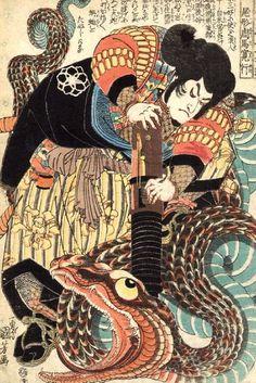 Kuniyoshi - Jiraya attaquant le serpent Orochimaru