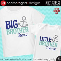 Anchor Big Brother Shirt & Anchor Little Brother Shirt or Bodysuit - 2 Personalized Anchor Shirts on Etsy, $32.50