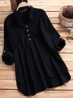 O-NEWE O-NEWE Casual Women Solid Lapel Long Sleeve High Low Shirt can cover your body well, make you more sexy, Newchic offer cheap plus size fashion tops for women. Fancy Dress Design, Girls Frock Design, Stylish Dress Designs, Designs For Dresses, Girls Dresses Sewing, Stylish Dresses For Girls, Girls Fashion Clothes, Fashion Outfits, Casual Frocks