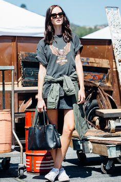 cuffed large t-shirt, mini skirt