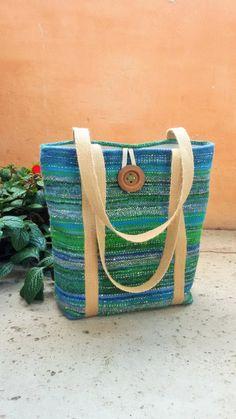 Handwoven unique large tote bag  beach bag by KadabrosFelt on Etsy Saori technique