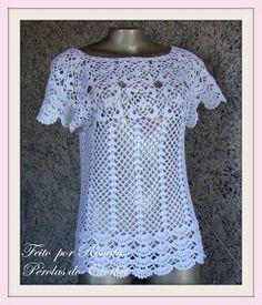 * Pérolas do Crochet: Blusa de crochet romântica