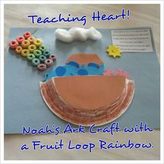 "Lesson 4 - ""God judges the world and sends a flood"" Noahs Ark Fruit Loop Rainbow Craft Teaching Heart Bible Story Crafts, Bible School Crafts, Bible Crafts For Kids, Preschool Crafts, Bible Stories, Kids Bible, Preschool Ideas, Sunday School Activities, Church Activities"