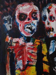 "Zombie. Death, Horror Art , Acrylic original  ,ACEO  jack larson 3.5""x2.5""  #Abstract"