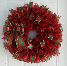 christmas mesh wreath christmas wreath by carolinabowcompany 6500 wreath crafts diy wreath burlap - Decorating A Christmas Wreath With Mesh Ribbon