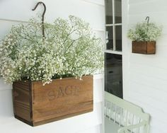 Herb Crates with Flowers