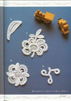 101 thread crochet embellishments and 128 motif crochet books Irish Crochet Patterns, Crochet Motifs, Freeform Crochet, Knitting Patterns, Crochet Embellishments, Japanese Crochet, Crochet Wool, Irish Lace, Ornament Crafts