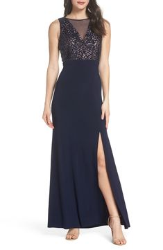 a3f903c9 Free shipping and returns on Morgan & Co. Sequin Bodice Illusion Neck  Gown at