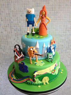 Adventure Time with Finn & Jake cake Adventure Time Cakes, Adventure Time Parties, Cake Wrecks, Fin E Jake, Jake Cake, Occasion Cakes, Tiered Cakes, Cake Art, Let Them Eat Cake