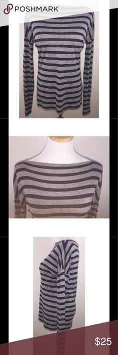 "Vince Gray Striped Boat Neck Tee Shirt Size Small Vince Striped Boat Neck Tee Shirt Small S Super Soft Jersey Knit Gray Striped   Oversized striped jersey tee features a boat neck and dropped shoulder seams 100% Viscose - super, super soft! $135 original retail price Excellent gently used condition - no flaws noted Length = 26"" from shoulder to bottom of shirt Vince Tops Tees - Long Sleeve"