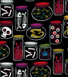 Halloween Fabric - Monster Jars