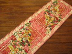 Floral Table Runner Quilted Coral Peach Yellow by PeppersAttic