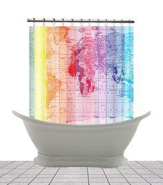 Shower Curtain  Rainbow World Map   Home Decor   Bathroom   Maps