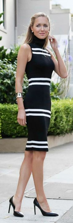 black and white striped sleeveless turtleneck dress + black pointy toe pumps {C/MEO Collective, Saint Laurent}