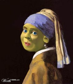 Fiona with the Pearl Earring. Famous art could use a little Shrek sometimes.  @Emma Conner