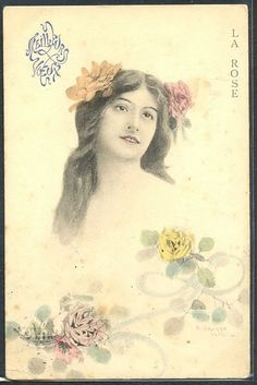 HU140 ART NOUVEAU VIENNE Style artist signed Long HAIR LADY ROSES 1903