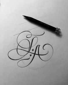Calligraphy letter A Letter S Calligraphy, Calligraphy Tattoo, Tattoo Lettering Fonts, Tattoo Script, Lettering Design, Calligraphy Handwriting, Caligraphy, Alphabet Tattoo Designs, Heart Tattoo Designs