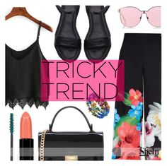 """""""Tricky Trend"""" by tasnime-ben ❤ liked on Polyvore featuring Ted Baker, Karen Walker, Smashbox, NYX, Sheinside and shein"""