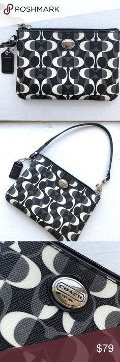 """New Coach🔥Peyton Wristlet Dream Purse Black/White Coach 100% Authentic! BRAND NEW   Dream C print coated canvas with leather trim  Inside open pockets & 2 wall credit card, ID or change coin pockets   • Zip-top closure with fabric lining  • Strap with clip to clip on other items, form a wrist loop or use as a long straight hand strap  • Approx measures acr bottom 6 1/4"""" (L) x 4 1/2"""" (H)  A Signature Coach product Coach Bags Clutches & Wristlets"""