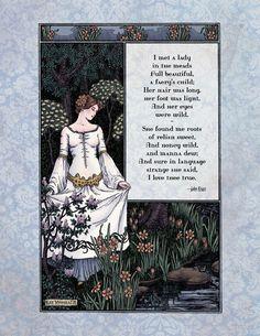 Keats - Victorian Art Poetry Print - La Belle Dame Poem - Magical 19th Century Illustration