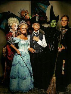 The original Broadway cast of Wicked: Carole Shelley as Madame Morrible, Manuel Herrera as Chistery, Kristin Chenoweth as Glinda, Joel Grey as The Wizard, Idina Menzel as Elphaba and Norbert Leo Butz as Fiyero.