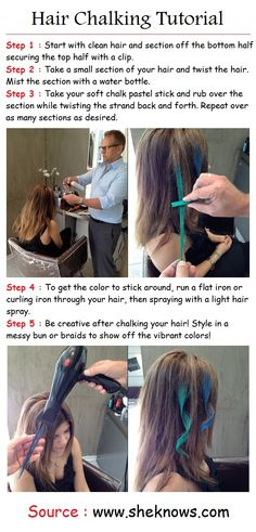 how to do hair chalking on dark hair | PinTutorials. Cool way to do pink or…                                                                                                                                                                                 More