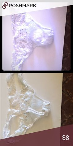 Lace and fishnet floral thong Very cute and sequined, wedding night collection Victoria's Secret Intimates & Sleepwear Panties